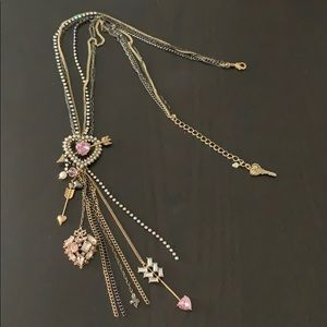 Betsey Johnson Y necklace with heart details